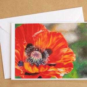Carte double fleur au pastel sec avec enveloppe