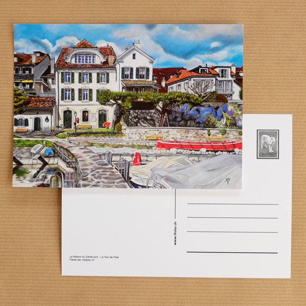 Carte postale au pastel sec - La Tour-de-Peilz - La Maison du garde-port