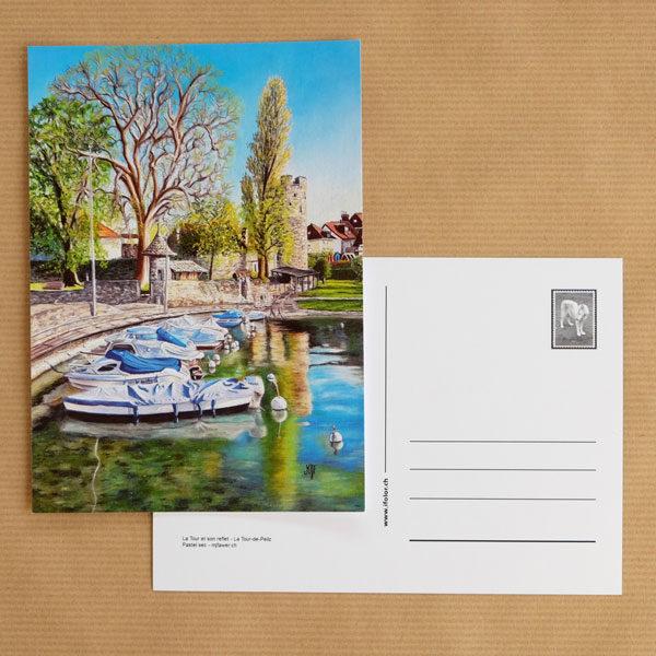 Carte postale au pastel sec - La Tour-de-Peilz - La Tour et son reflet
