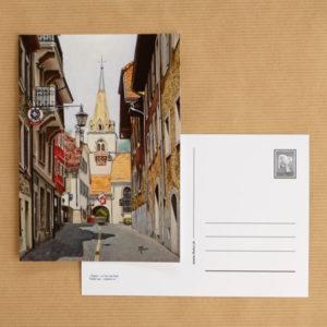 Carte postale au pastel sec - La Tour-de-Peilz - L'Eglise