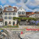 La maison du garde-port, La Tour-de-Peilz, pastel sec