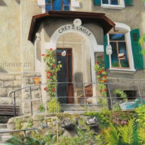 L'entrée de ma maison, La Tour-de-Peilz, pastel sec