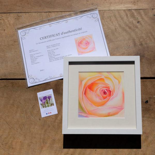 Tableau original Rose arc-en-ciel au pastel sec
