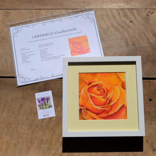Tableau original Rose orange au pastel sec