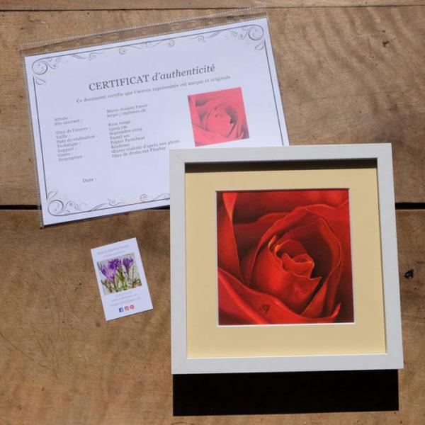 Tableau original Rose rouge au pastel sec