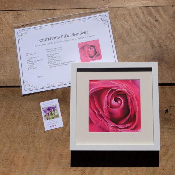 Tableau original Rose rose foncé au pastel sec