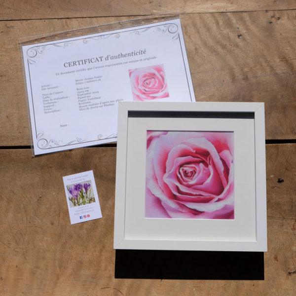 Tableau original Rose rose au pastel sec
