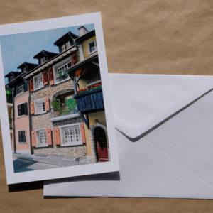 Grande carte au pastel sec - La Tour-de-Peilz - Bourg-Dessous