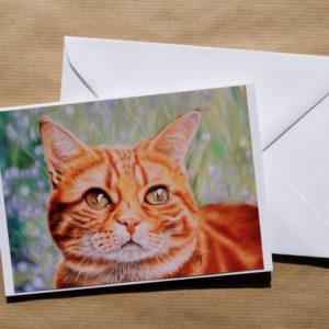 Carte double chat au pastel sec avec enveloppe
