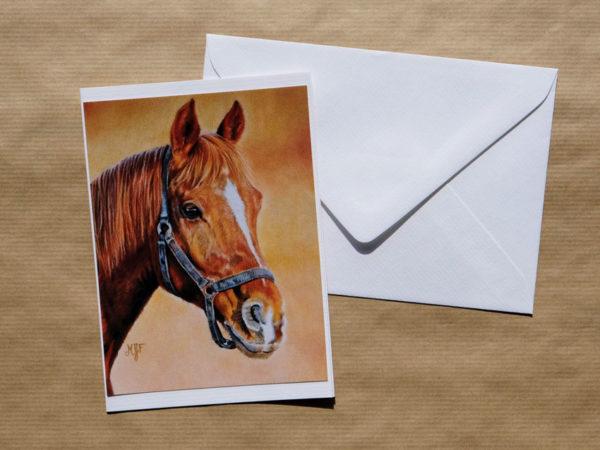 Carte double cheval au pastel sec avec enveloppe