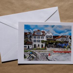 Grande carte au pastel sec - La Tour-de-Peilz - La maison du garde-port