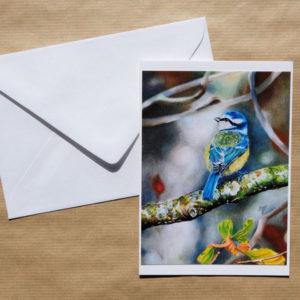 Carte double Mésange au pastel sec avec enveloppe