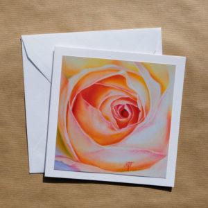 Carte carrée Rose arc-en-ciel au pastel sec avec enveloppe