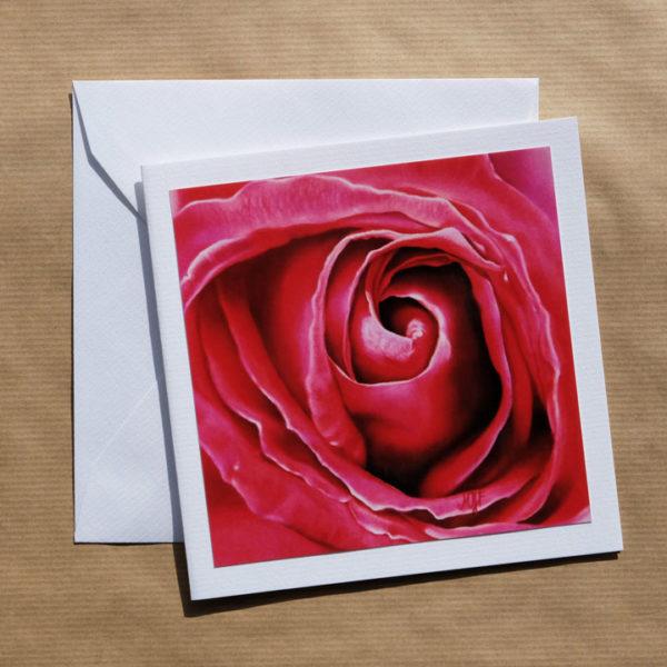 Carte carrée Rose rose foncé au pastel sec avec enveloppe