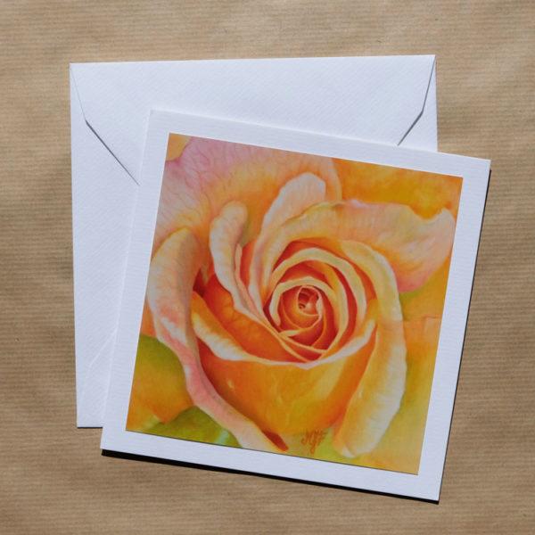 Carte carrée Rose jaune au pastel sec avec enveloppe
