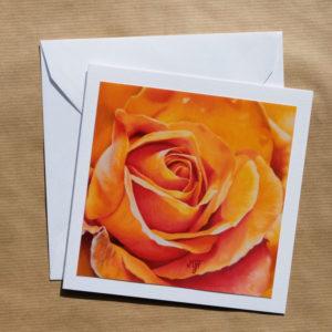 Carte carrée Rose orange au pastel sec avec enveloppe