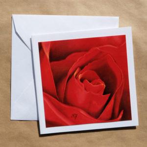 Carte carrée Rose rouge au pastel sec avec enveloppe