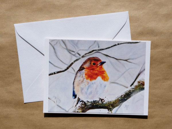 Carte double Rouge-gorge au pastel sec avec enveloppe