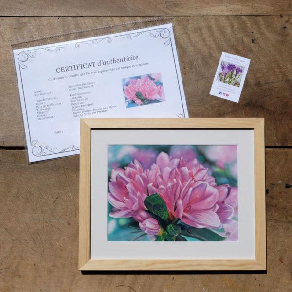 Tableau original Rhododendrons au pastel sec avec son certificat d'authenticité