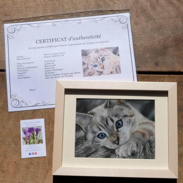 Chat au pastel sec encadré et certificat d'authenticité