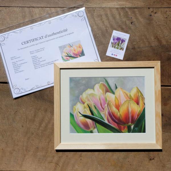 Tableau original Tulipes rose au pastel sec avec son certificat d'authenticité