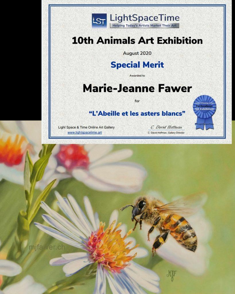 L'abeille et les asters, pastel sec, Special Merit LST