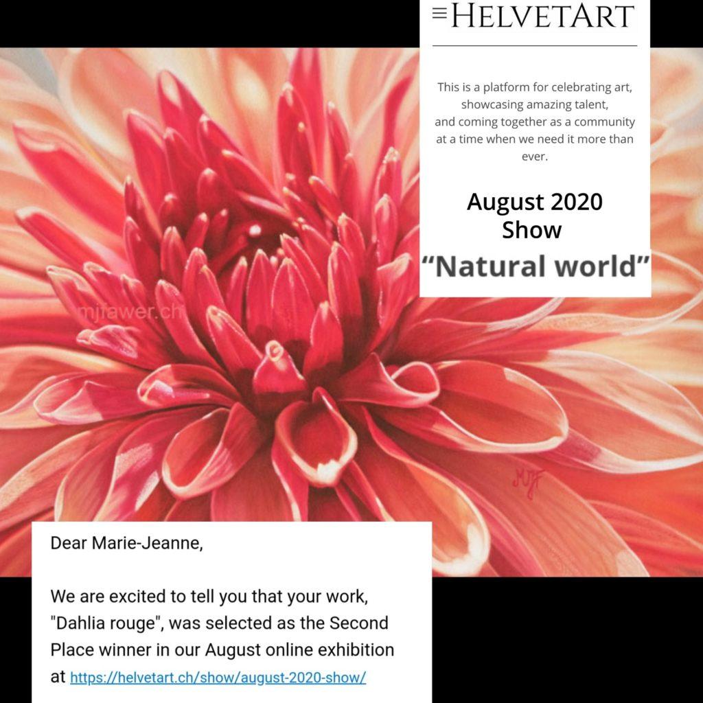 Dahlia rouge, pastel sec, 2ème place concours Helvetart