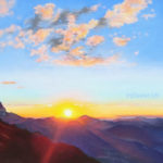 Coucher de soleil sur les Dents du Midi, cabane du Demècre